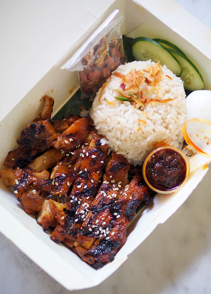 The 'nasi lemak' with all its components are packed individually to make sure you can enjoy it thoroughly