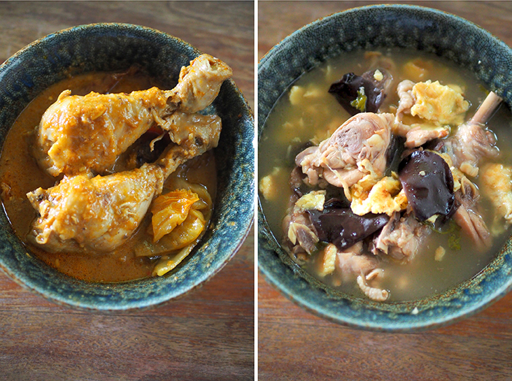 An unusual chicken curry is paired with an unlikely friend in the form of preserved vegetables that helps balance out the richness of the curry (left). Rice wine chicken has a comforting vibe with the use of sweet home-made rice wine (right)