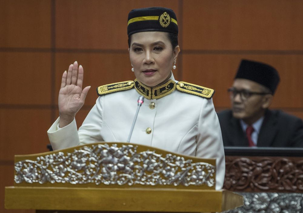 Television personality Ras Adiba Radzi is sworn in as senator at Parliament in this file picture taken on May 20, 2020. — Bernama pic