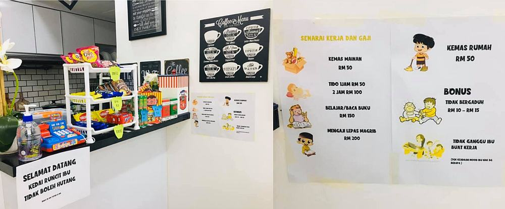 Nurafiza wasn't playing around either as she even made a list of the chores to be done. — Pictures via Facebook/Puan Nadzirah Razali