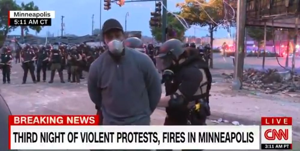 A CNN reporter was arrested by police while reporting live on television during violent protests in Minneapolis. — Picture via Twitter/CNN