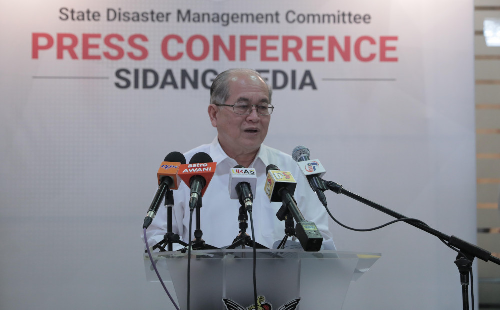Sarawak Disaster Management Committee chairman Datuk Douglas Uggah said Kuching district is now categorised as yellow from green zone. — Picture courtesy of Sarawak Public Communications Unit (Ukas)
