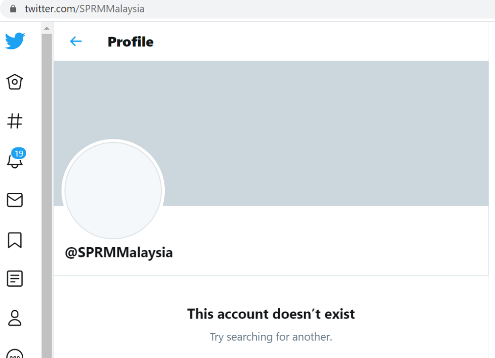 A screengrab of the Malaysian Anti-Corruption Commission's official Twitter account as of noon, May 27, 2020.