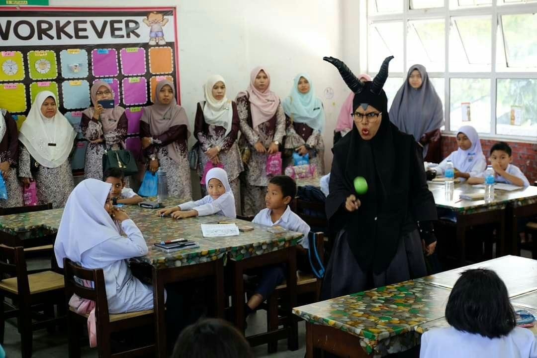 Norashikin in costume as 'Maleficent' during one of her 'Grammar-Telling' lessons. — Picture courtesy of Norashikin Zainull Abdin