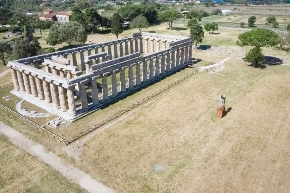 The towering Greek temple complex at Paestum near Naples is the first Italian archaeological site to reopen. — AFP pic