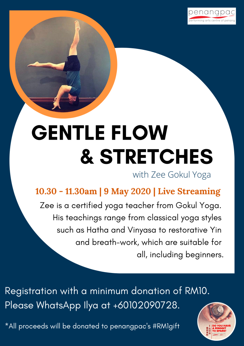 Yoga enthusiasts can join the 'Yoga: Gentle Flow & Stretches' live-streaming session with Zee Gokul Yoga on May 9 at 10.30am. — Picture courtesy of Penangpac