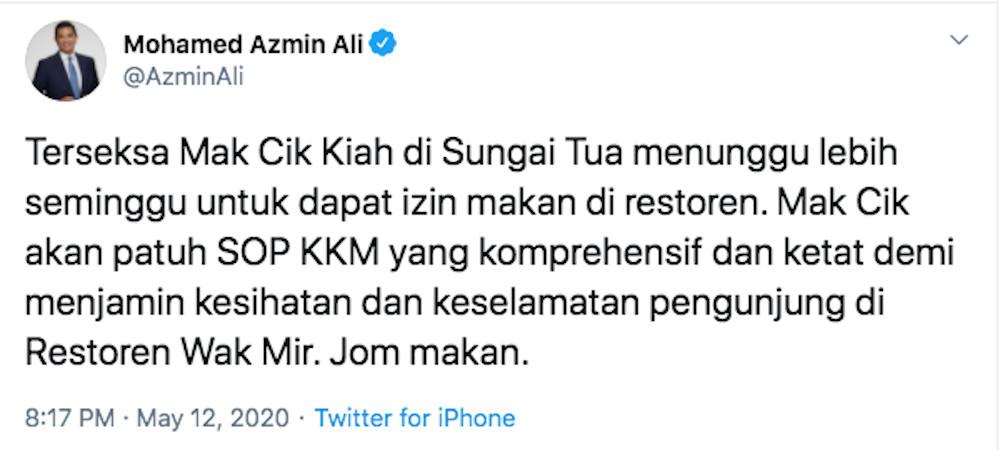 A screengrab of Datuk Seri Mohamed Azmin Ali's tweet earlier. — Picture from Twitter/Azmin Ali
