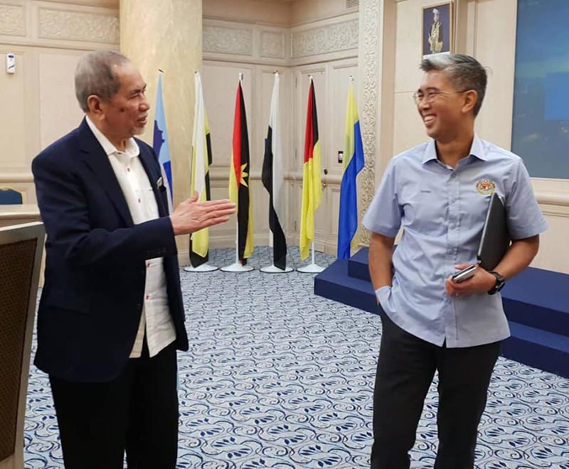Entrepreneur Development and Cooperatives Minister Datuk Seri Wan Junaidi Tuanku Jaafar and Finance Minister Tengku Datuk Seri Zafrul Abdul Aziz at a meeting in Putrajaya May 18, 2020. — Picture from Facebook/dswanjunaidi