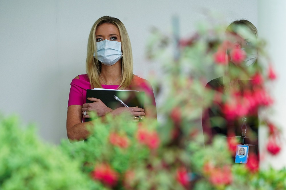 White House Press Secretary Kayleigh McEnany wears a protective face mask during a  Donald Trump press briefing at the White House in Washington May 11, 2020. ― Reuters pic