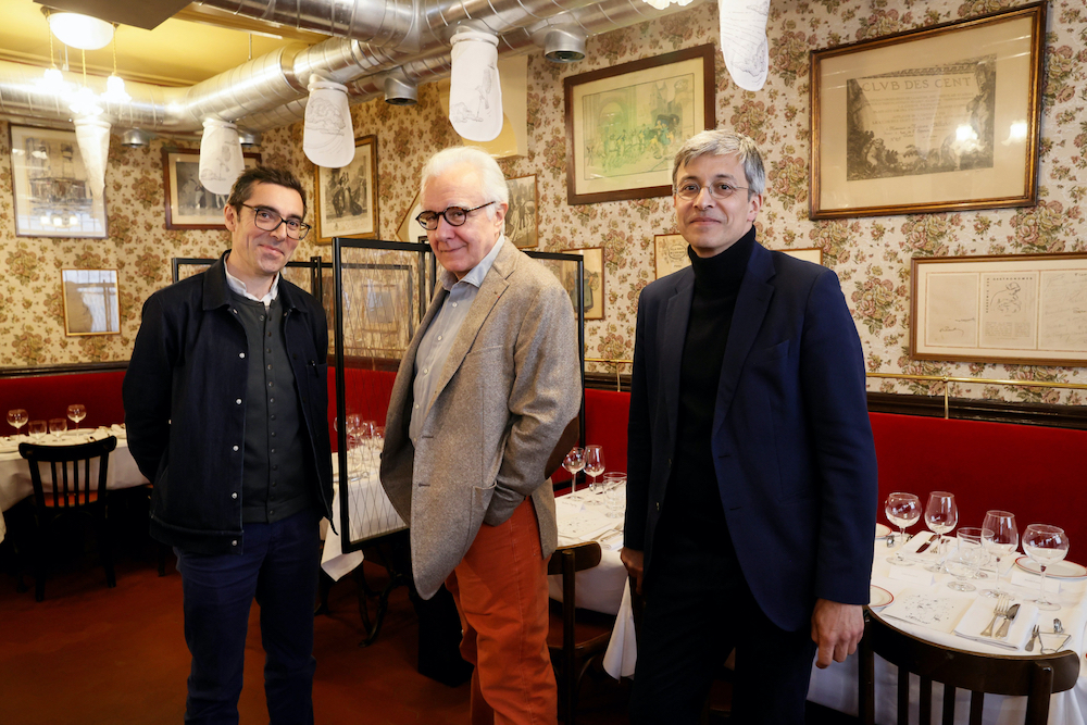 (from left) French designer Patrick Jouin, French Chef Alain Ducasse, and French architect Arnaud Delloye. — AFP pic