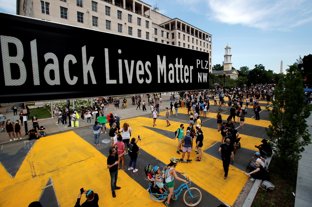 A street sign of Black Lives Matter Plaza is seen near St John's Episcopal Church, as the protests against the death in Minneapolis police custody of George Floyd continue, in Washington June 5, 2020. — Reuters pic