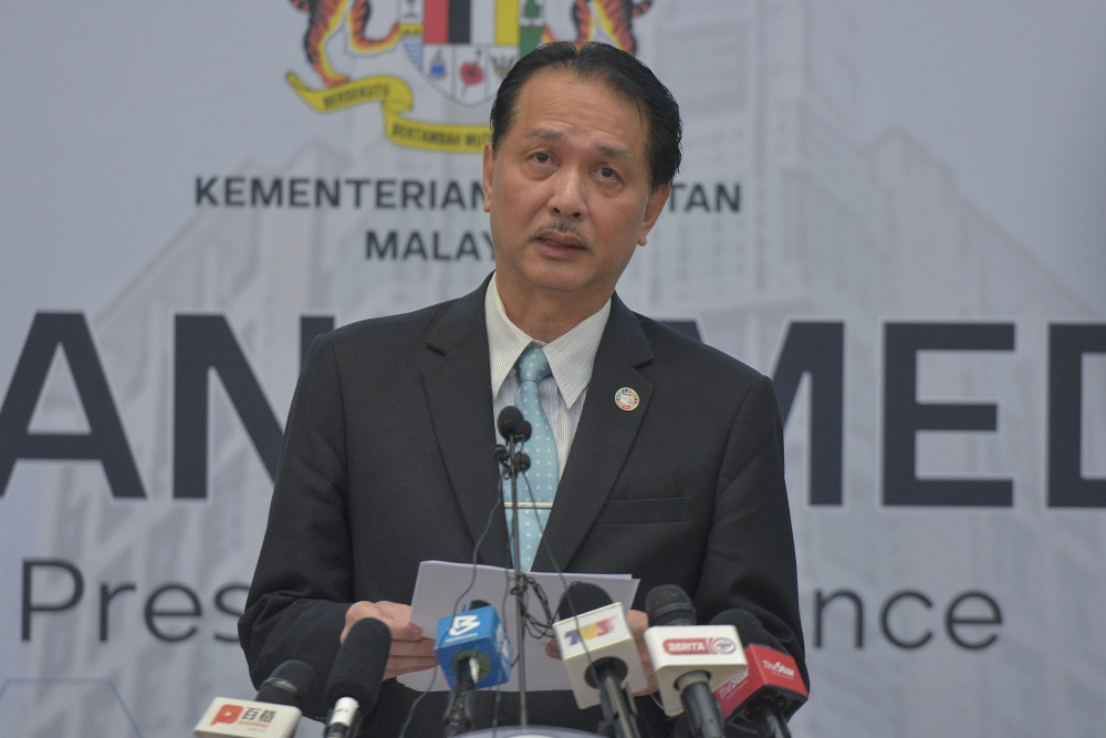 Health Director-General Datuk Dr Noor Hisham Abdullah said Malaysia recorded 277 new Covid-19 cases today, of which only four were locals. — Picture by Shafwan Zaidon