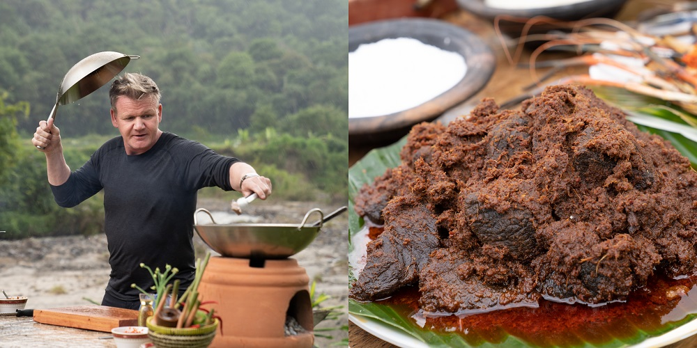 Ramsay braved the elements as he engaged in an outdoor cookout to make the perfect rendang. — Picture courtesy of National Geographic