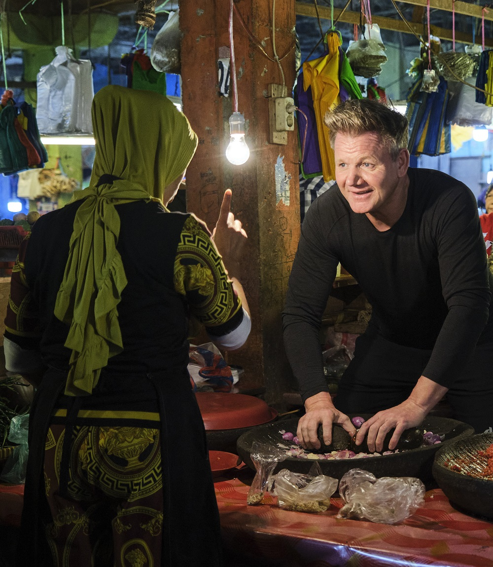 Ramsay visited an Indonesian wet market to learn how to make rendang paste from a local trader. — Picture courtesy of National Geographic