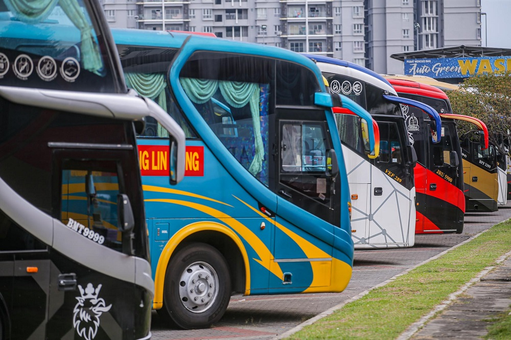 Malaysian Bus Operators Association president Datuk Mohd Asfar Ali says many of its members have suffered drastic drops to their earnings over the past year, adding that 99 per cent of bookings have been cancelled following the new MCO that starts today. — Picture by Hari Anggara