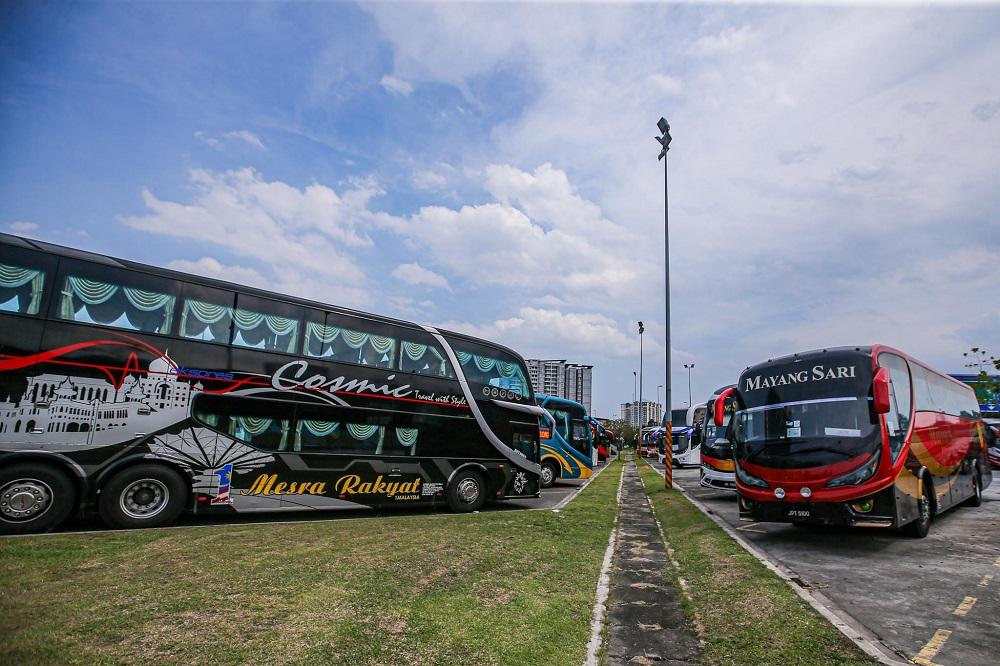 Express buses are seen at Terminal Bandar Tasik Selatan in Kuala Lumpur June 8, 2020. — Picture by Hari Anggara