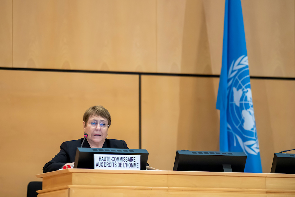 High Commissioner for Human Rights Michelle Bachelet speaks during an urgent debate on current racially inspired human rights violations at the European headquarters of the United Nations in Geneva June 17, 2020.— Reuters pic