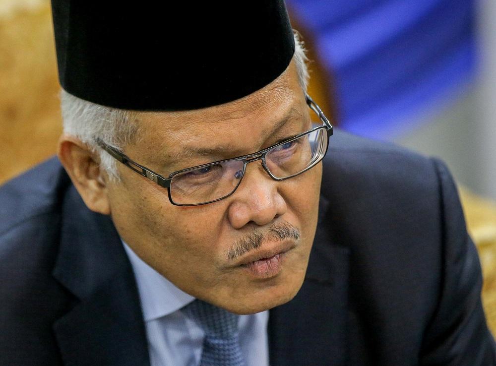 Home Minister Datuk Seri Hamzah Zainudin speaks to reporters in Ulu Kinta, Ipoh June 19, 2020. ― Picture by Farhan Najib
