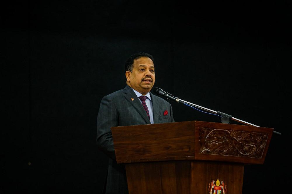Outgoing Dewan Negara president Tan Sri SA Vigneswaran delivers his speech in Parliament June 22, 2020. — Picture by Hari Anggara