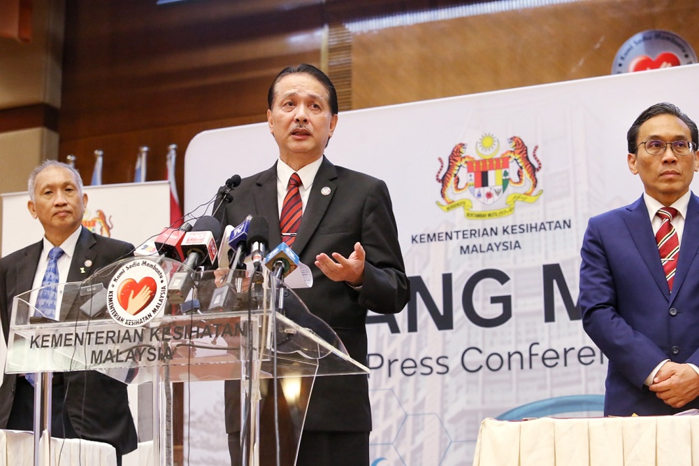 Health director-general Datuk Dr Noor Hisham Abdullah (centre) speaks at a press conference in Putrajaya June 24, 2020. — Picture by Choo Choy May