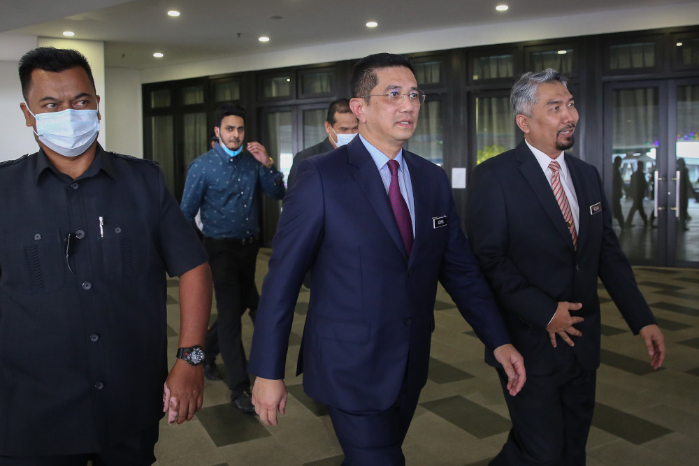 Senior Minister Datuk Seri Mohamed Azmin Ali arrives for the Selangor state action council meeting in Shah Alam June 29, 2020. — Picture by Yusof Mat Isa