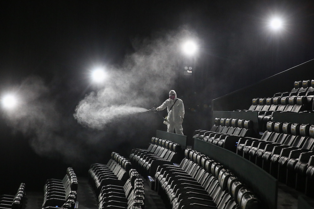TGV Cinemas have carried out disinfection exercise at all its theatres prior to opening. —Picture by Mohd Yusof Mat Isa