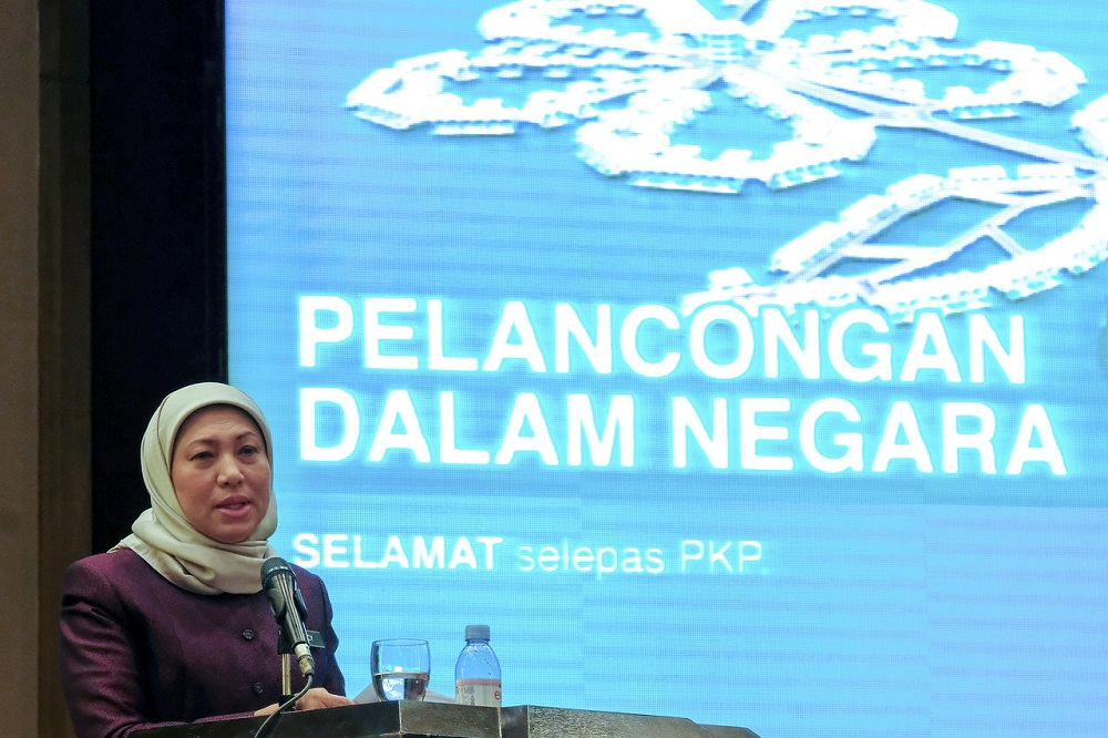Tourism, Arts and Culture Minister Datuk Seri Nancy Shukri delivers her speech during the launch of the domestic tourism recovery programme in Putrajaya June 10, 2020. — Bernama pic