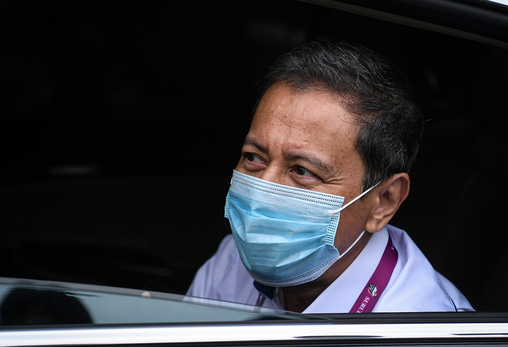 Election Commission chairman Datuk Azhar Azizan Harun arrives at the nomination centre in Chini, Pekan June 20, 2020. — Bernama pic