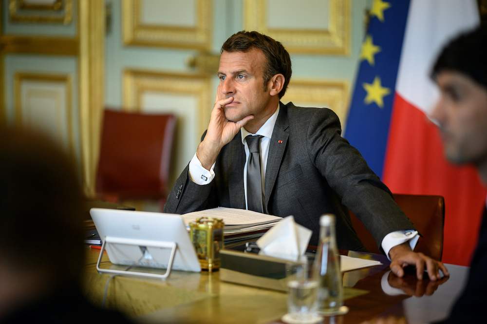 French President Emmanuel Macron attends a virtual meeting with European leaders to discuss the bloc's budget and recovery fund, in Paris, France June 19, 2020. ― Reuters  pic