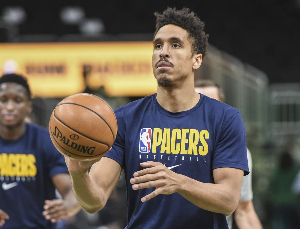 Indiana Pacers guard Malcolm Brogdon (7) warms up before a game against the Milwaukee Bucks at Fiserv Forum March 4, 2020. — Reuters pic