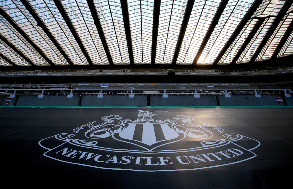 General view of the Newcastle United emblem inside the stadium before the match as play resumes behind closed doors following the outbreak of the coronavirus disease, June 24, 2020. — Reuters pic