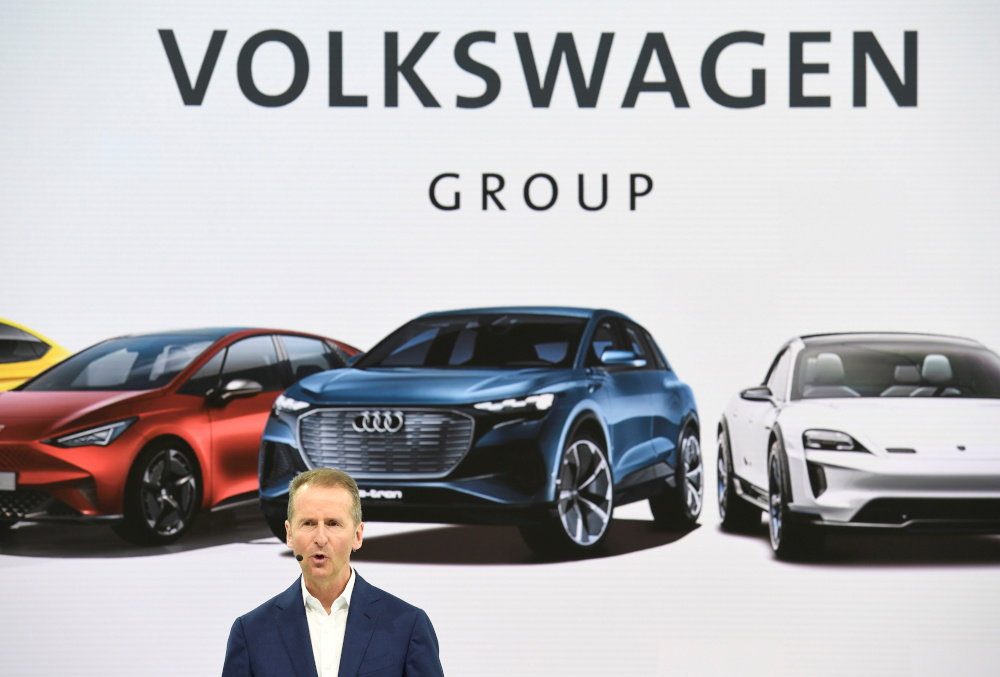 Volkswagen replaced Herbert Diess as chief executive of the VW brand yesterday and installed chief operating officer Ralf Brandstaetter to lead cost cutting efforts at the company's largest plants in Germany. — Reuters pic