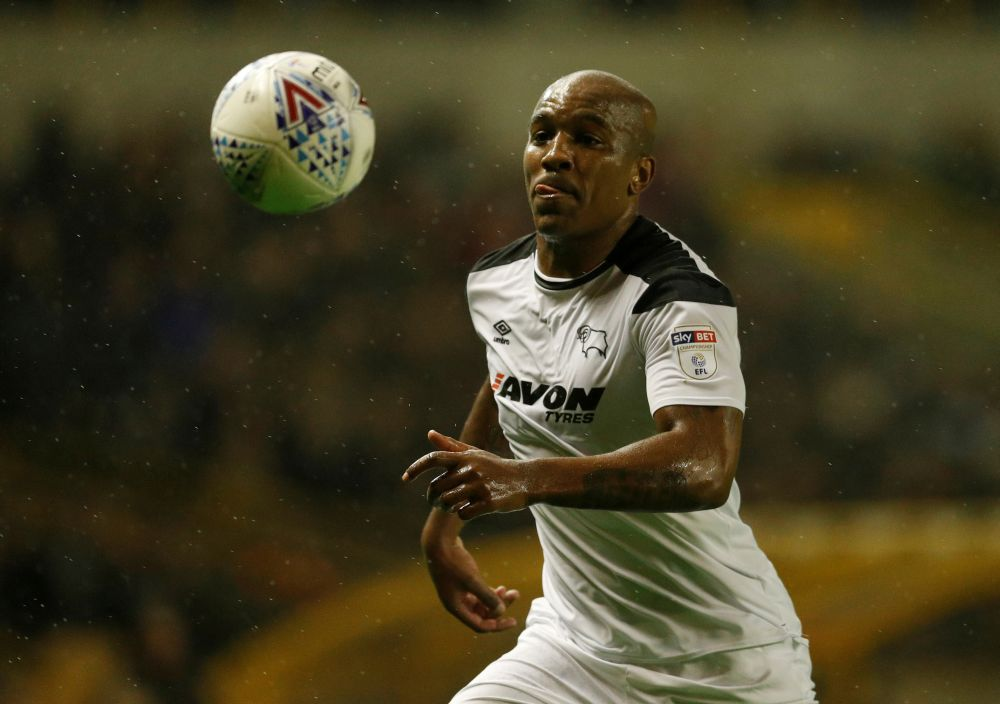 Derby County's Andre Wisdom in action against Wolverhampton at the Molineux Stadium, Wolverhampton April 11, 2018. — Reuters pic