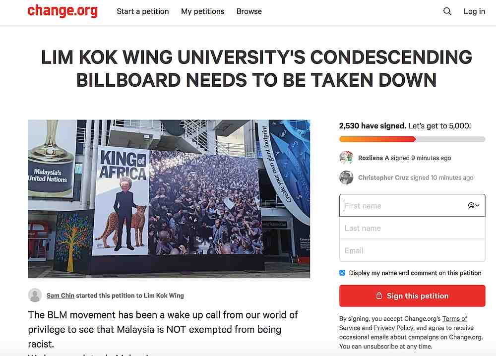 The petition was launched on June 7 after pictures of the billboard made the rounds on social media. — Screengrab from Change.org