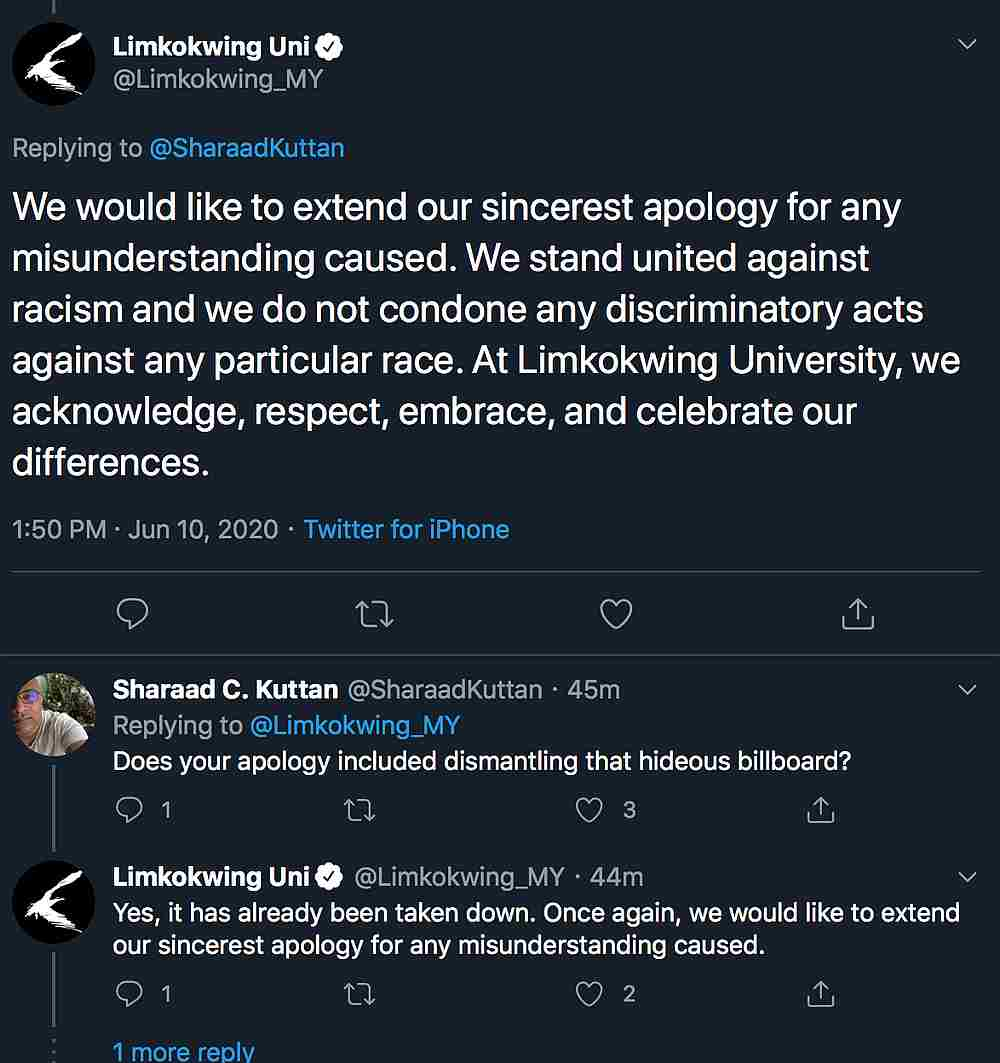 The billboard has since been removed by the university who also issued an apology to Twitter users who tagged them online. — Picture from Twitter/ Limkokwing_MY