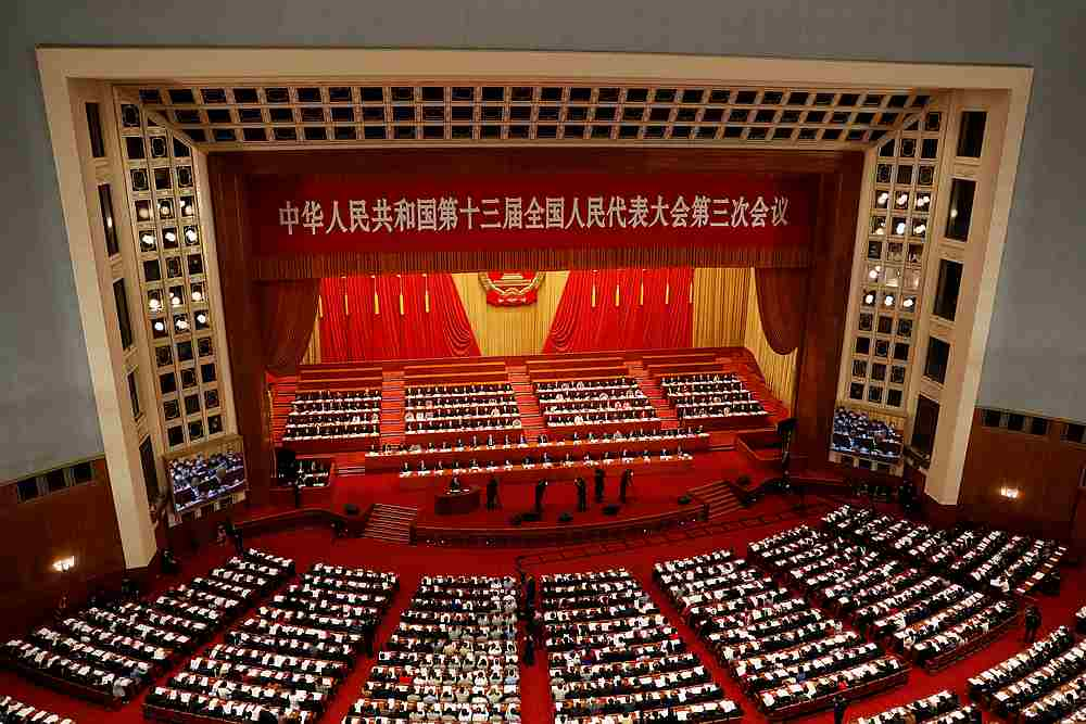 Chinese officials and delegates at the opening session of the National People's Congress (NPC) at the Great Hall of the People in Beijing, China May 22, 2020. — Reuters pic