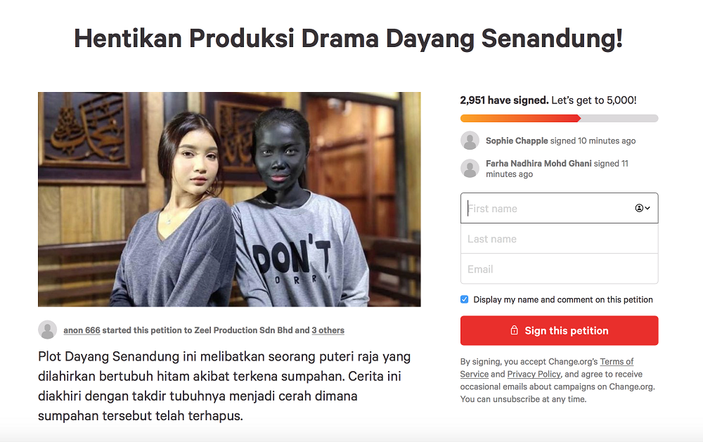 The petition page states that the drama is harmful as it associates dark skin with black magic and curses. — Screengrab via Change.org