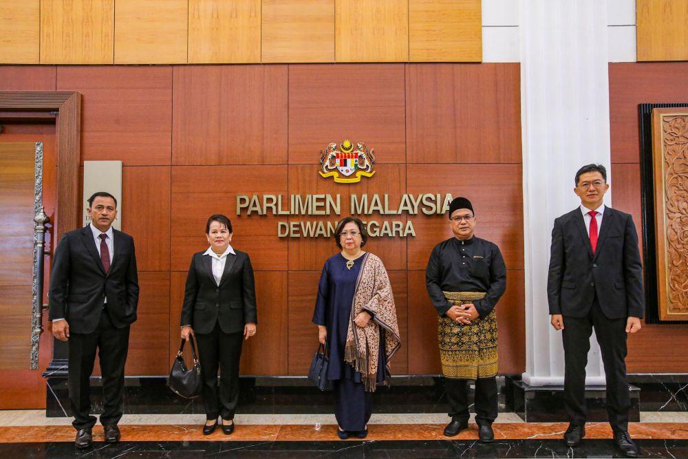(From left) Datuk Yakubah Khan, Rita Sarimah Patrick Insol, Susan Chemerai Anding, Datuk Bashir Alias and Robert Lau Hui Yew are pictured after being sworn in as senators at Parliament June 22, 2020. — Picture by Hari Anggara