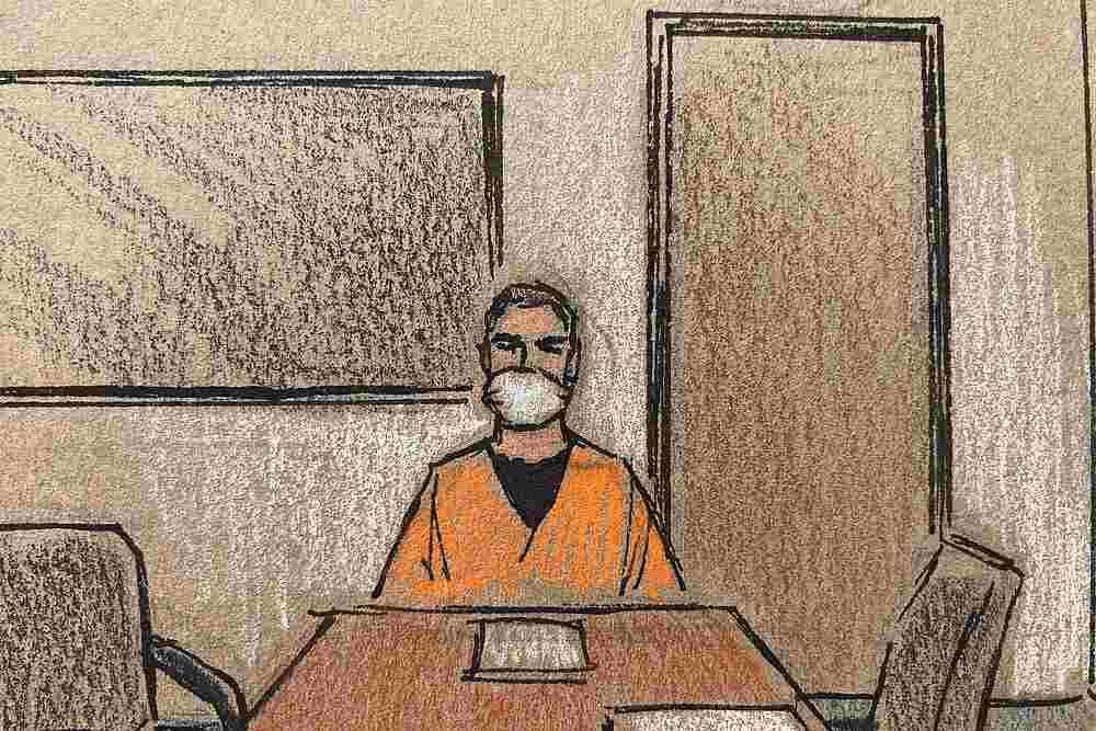 法庭草图显示,前警员肖万周一首次透过视像连线的方式出庭面控。-路透社-