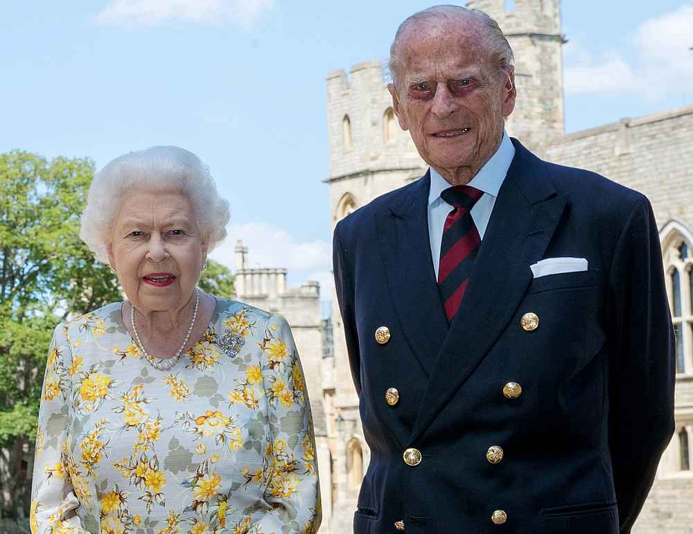 Britain's Queen Elizabeth II and Prince Philip pose in the quadrangle of Windsor Castle on June 6, 2020. Picture released on June 9, 2020. — PA Wire/Pool pic via — Reuters