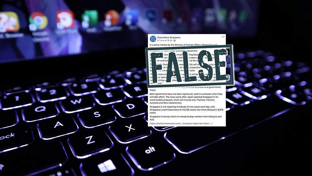 Pofma office says State News Singapore made false statements about cross-border travel between Singapore and Malaysia in a Facebook post on June 27, 2020. — Factually image via TODAY