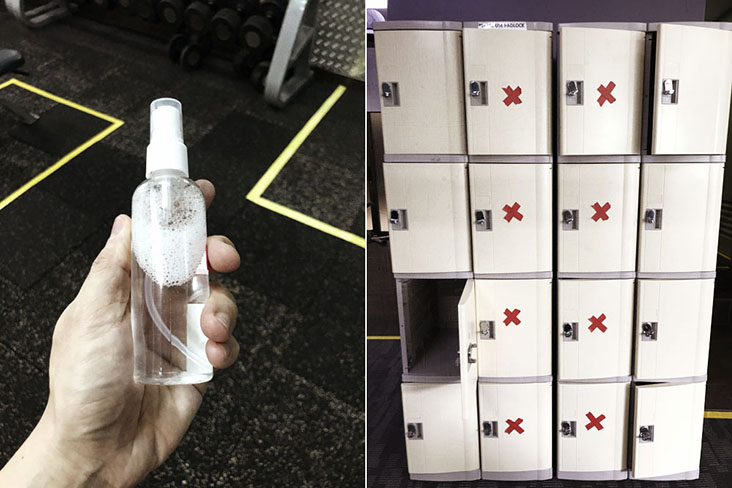 Personal hand sanitisers are given out (left) and social distancing at the lockers (right)