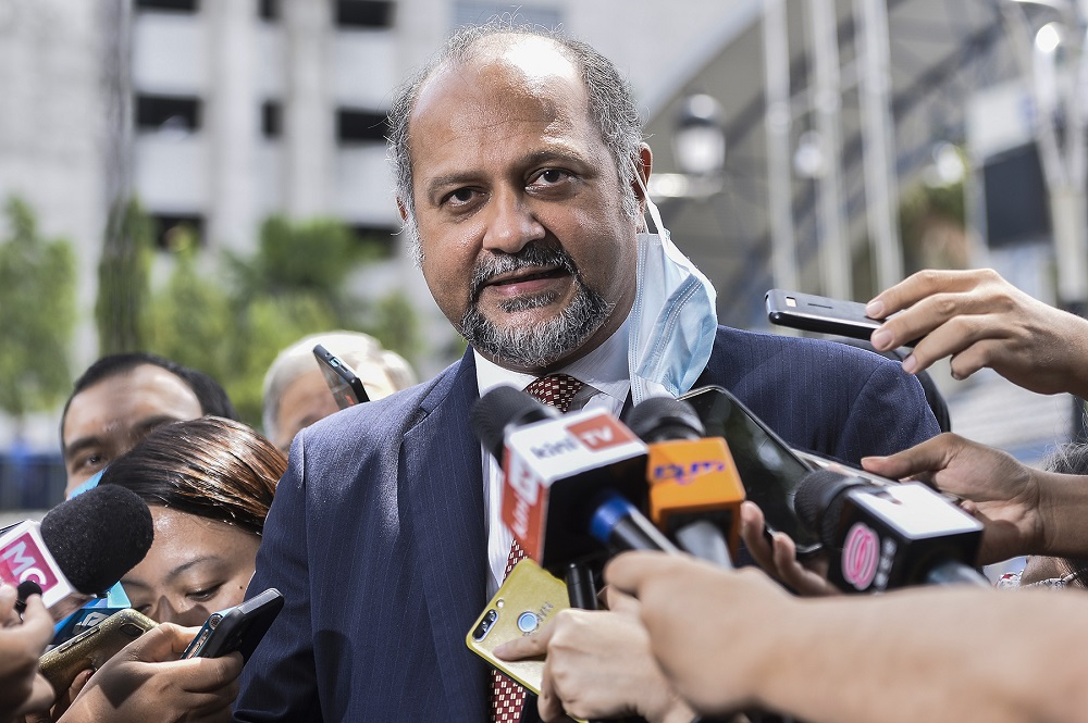 Lawyer Gobind Singh Deo speaks to reporters outside the Bukit Aman police headquarters in Kuala Lumpur June 23, 2020. ― Picture by Miera Zulyana