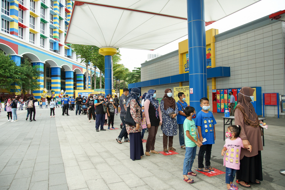 Guests practising social distancing while waiting for the official re-opening of Legoland Malaysia Resort. — Picture courtesy of Legoland Malaysia Resort