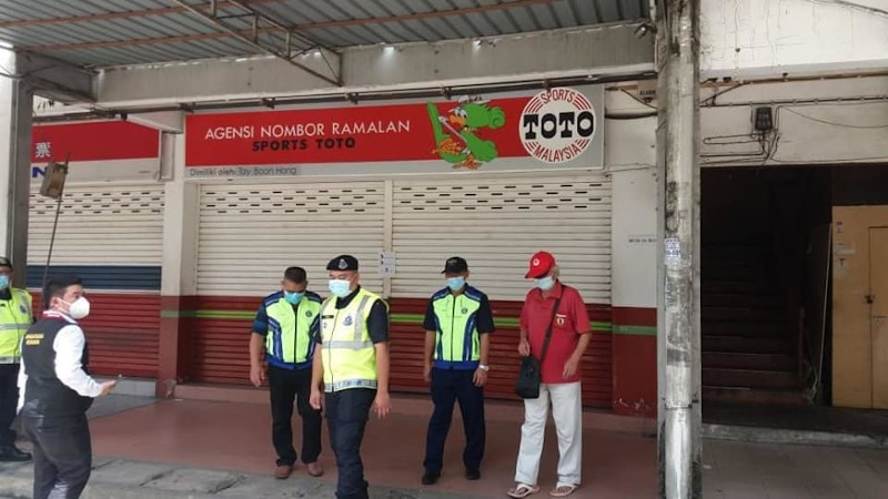 A lottery outlet shut down by authorities in Sabah June 17, 2020. — Picture courtesy of Harland Darau