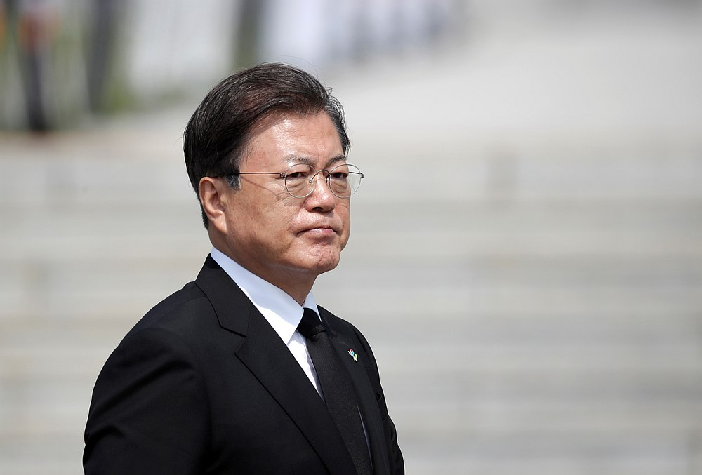 South Korean President Moon Jae-in arrives for a Memorial Day ceremony at the national cemetery in Daejeon, South Korea June 6, 2020. — Lee Jin-man/Pool pic via Reuters