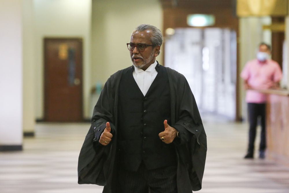 Najib's lawyer Tan Sri Muhammad Shafee Abdullah reportedly  claimed that the police allegedly had no respect for the seized luxury items when tagging them. — Picture by Yusof Mat Isa
