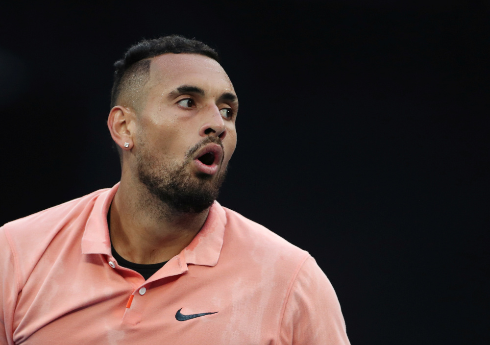 Australia's Nick Kyrgios during the match against France's Gilles Simon at the Australian Open in Melbourne Park, January 23, 2020. — Reuters pic