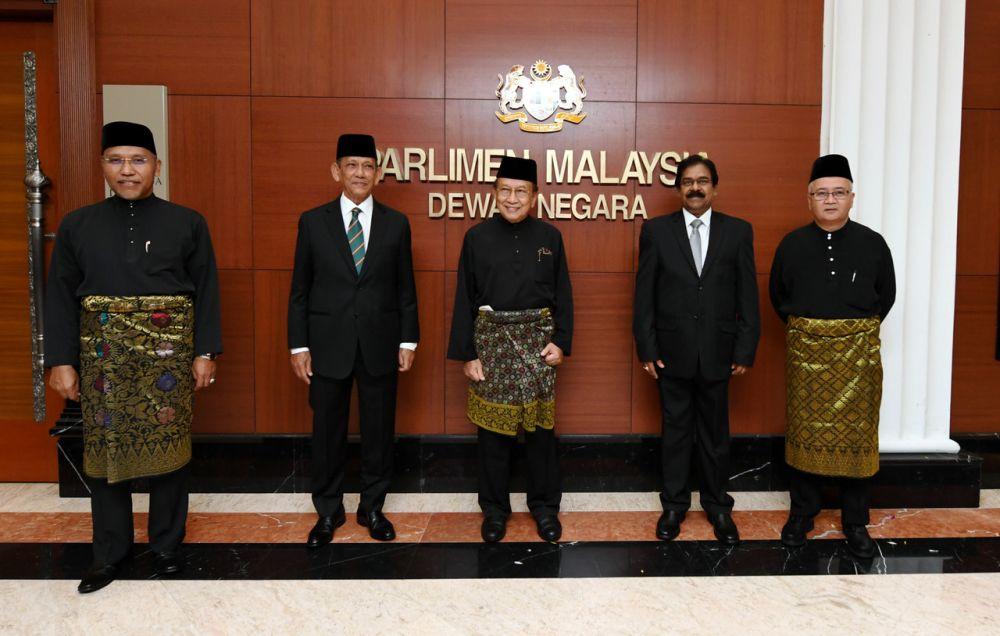 (From left) Idris Ahmad, Tan Sri Mohd Radzi Sheikh Ahmad, Tan Sri Dr Rais Yatim, N. Balasubramaniam and Muhammad Zahid Md Arip are pictured after being sworn in as senators at Dewan Negara in Kuala Lumpur June 16, 2020. — Bernama pic