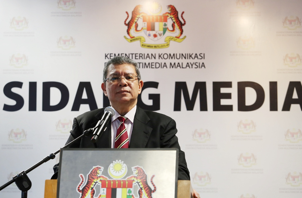 Communications and Multimedia Minister Datuk Saifuddin Abdullah speaks to the press in Putrajaya June 17, 2020. — Picture by Choo Choy May